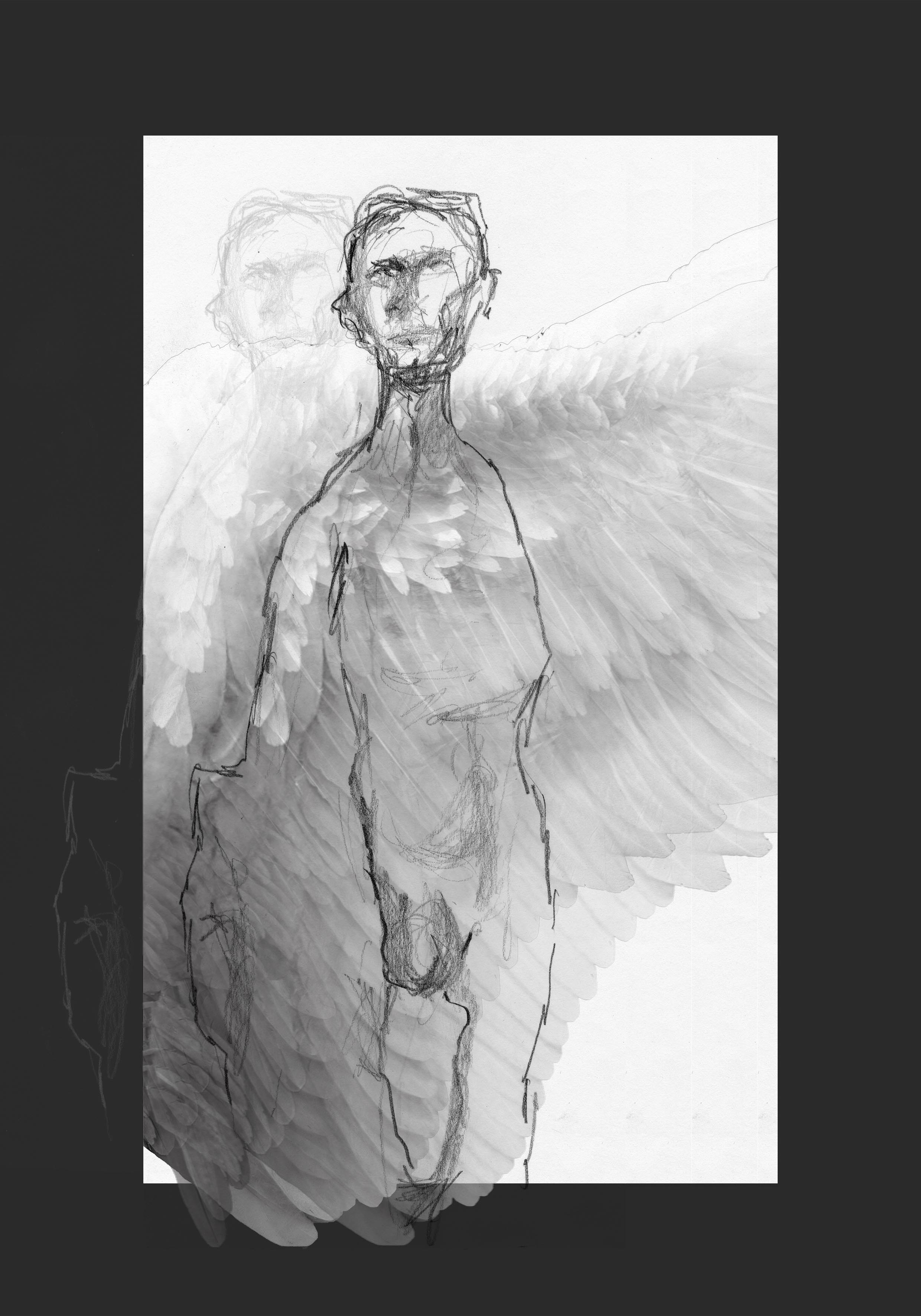 Line drawing of sculpture depicting a naked man, as well as angel wings on the website A Better Version