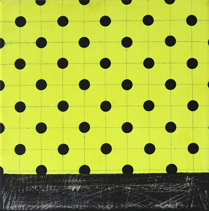 Acrylic painting in bright yellow and black with black dots, part of the surface washed down on the website A Better Version