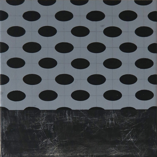 Acrylic painting in grey and black, parts of the surface washed down on the website A Better Version
