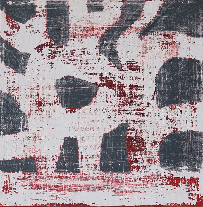 Acrylic painting in red, grey and white, patterned, the majority washed down on the website A Better Version