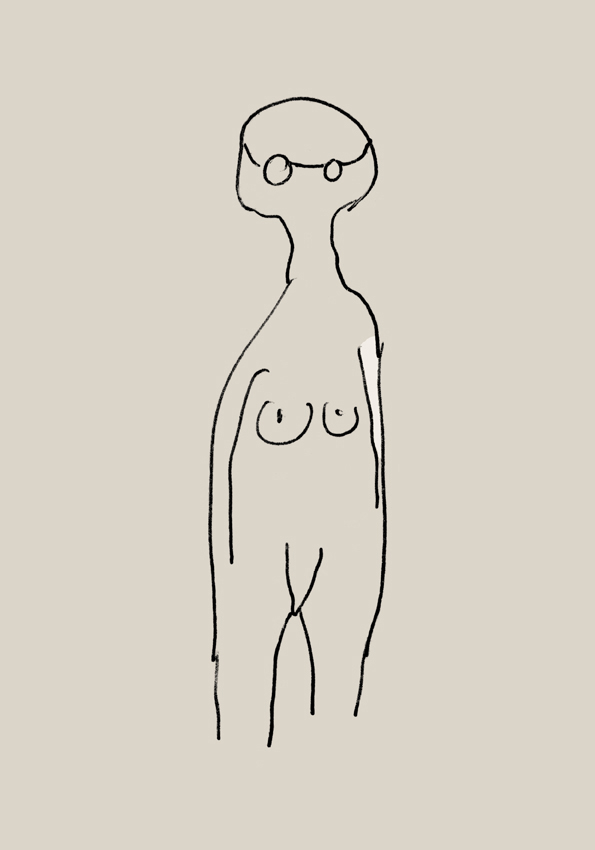 Line drawing of naked woman with glasses on a beige background on the website A Better Version