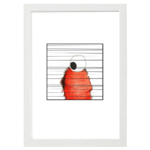 stripe 1 white wood frame