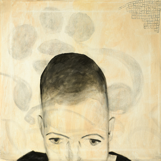 Self portrait, painting in acrylics in yellow, beige and black on the website A Better Version