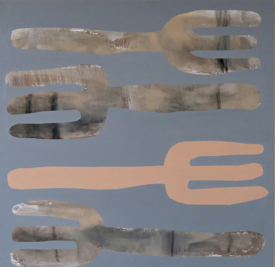 Acrylic painting showing four forks in beige colors on a grey background on the website A Better Version