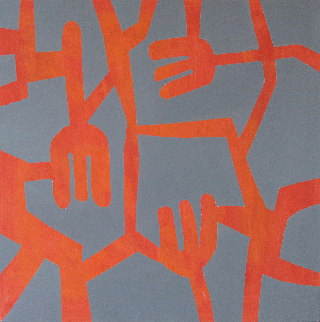 Acrylic painting in vivid orange colors with fork shapes on a grey background on the website A Better Version
