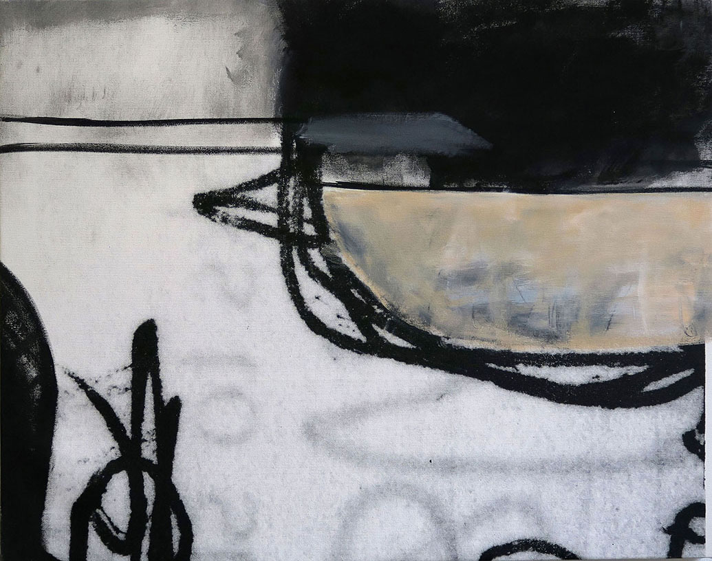 Abstract acrylic painting in white, greys, black and beige on the website A Better Version