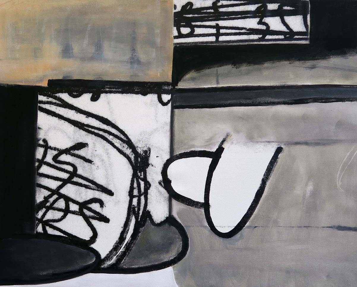 Abstract acrylic painting in black, grey, white and beige on the website A Better Version